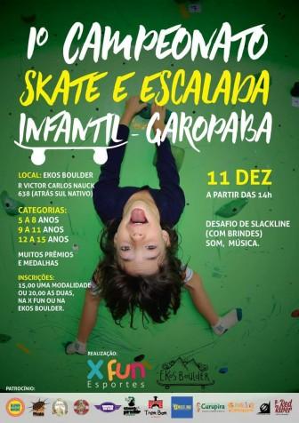No aniverssário de 1 ano da XFUN tem o 1 campeonato infantil de skate e escalada de Garopaba
