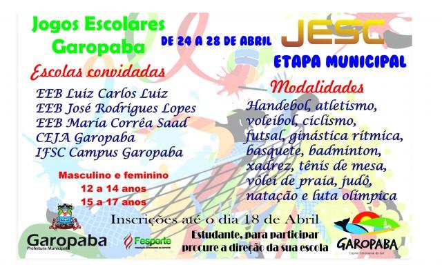 Garopaba realiza etapa municipal do JESC e divulga data da Etapa Municipal do Moleque Bom de Bola